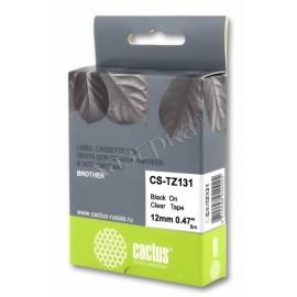 Premium CS-TZ131 лента для наклеек Cactus TZe-131 Label Roll, 8 м, черный на прозрачном