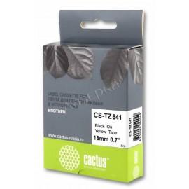 Premium CS-TZ641 лента для наклеек Cactus TZe-641 Label Roll, 8 м, черный на желтом