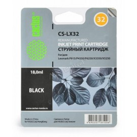 CS-LX32 струйный картридж Cactus 32 Black | 18C0032E, 18 мл, черный