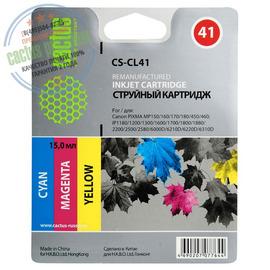 Cactus Premium CS-CL41 совместимый струйный картридж аналог Canon CL-41 цветной (3-х цветный) ресурс 18 мл.
