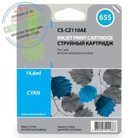 Cactus Premium CS-CZ110AE №655 совместимый струйный картридж аналог HP CZ110AE голубой ресурс 14.6 мл.