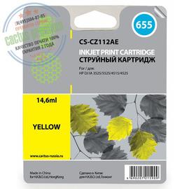 Cactus Premium CS-CZ112AE №655 совместимый струйный картридж аналог HP CZ112AE желтый ресурс 14.6 мл.