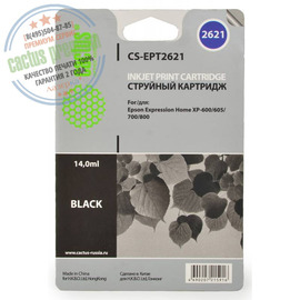 Cactus Premium CS-EPT2621 совместимый струйный картридж аналог Epson C13T26214010 черный ресурс 14 мл.