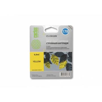 CS-CB320N(CS-CB320) струйный картридж Cactus 178 Yellow | CB320HE, 6 мл, желтый