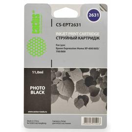Cactus CS-EPT2631 совместимый струйный картридж аналог Epson C13T26314010 чёрный-фото ресурс 11 мл.