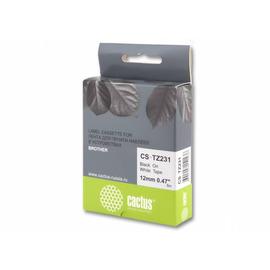 CS-TZ231 лента для наклеек Cactus TZe-231 Label Roll, 8 м, черный на белом