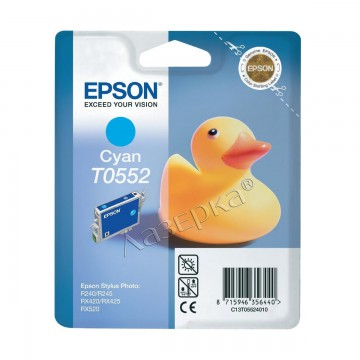 C13T05524010 T0552 Cyan оригинальный струйный картридж Epson голубой, ресурс - 290 страниц