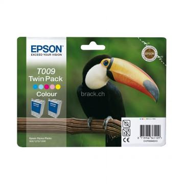 C13T00940210 T009 + T009 color оригинальный струйный картридж Epson цветной + двойная упаковка, ресурс - 2*330 страниц