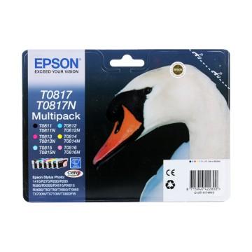 C13T11174A10 T0817 Multipack оригинальный комплект картриджей Epson 6 шт, ресурс - 480 страниц