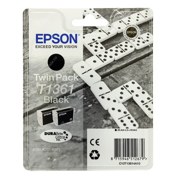 Epson T1361 Black   C13T13614A10 оригинальный струйный картридж - черный, 2 x 25,4 мл