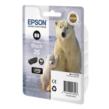 Epson 26 Photo black | C13T26114012 оригинальный струйный картридж - черный-фото, 200 стр