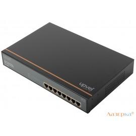 Коммутатор UPVEL UP-218FE 8-портовый 10/100 Мбит/с с 8-ю PoE+ портами,максимальная мощность на порт до 30 Вт,мет.корпус,крепления для монтажа в стойку
