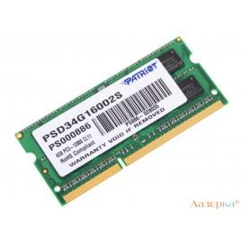 Оперативная память для ноутбуков Patriot (PSD34G16002S) SO-DIMM 4Gb DDR3 1600Mhz