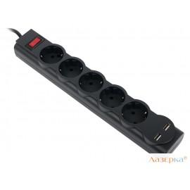 Сетевой фильтр Defender DFS 755 черный 5,0 м, 5 розеток, 2xUSB, 2.1A